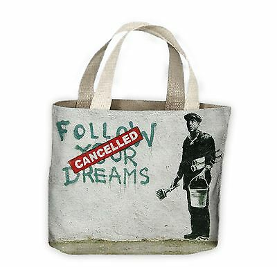 Banksy Follow Your Dreams Cancelled Tote Shopping Bag For Life • 9.99£