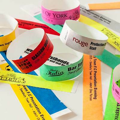 £3.89 • Buy Custom Printed Or Plain Tyvek Wristbands Paper Events Festivals Party Parties