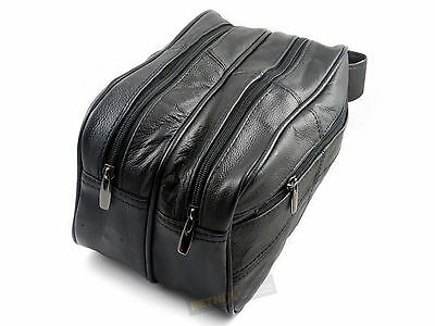 Gents REAL LEATHER TOILETRY BAG Black Large Travel Wash Bag Toiletries Mens NEW • 13.99£