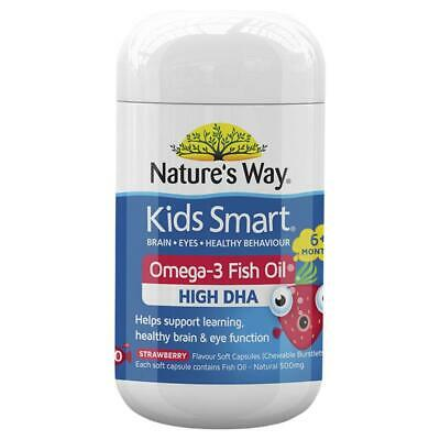 AU15.99 • Buy Nature's Way Kids Smart Omega 3 Fish Oil DHA Strawberry 50 Capsules Supplement