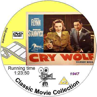 Cry Wolf - Errol Flynn Barbara Stanwyck 1947 Mystery Thriller Movie On DVD • 1.89£
