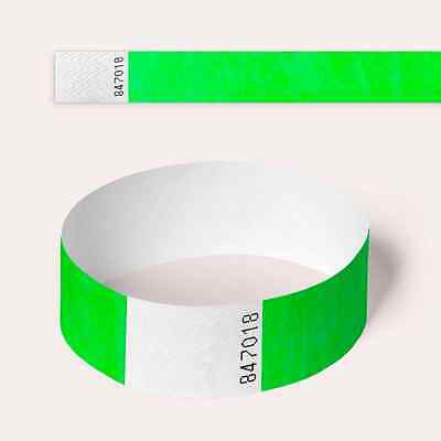 £2.10 • Buy Neon Green Tyvek Wristbands, Plain And Custom Printed Paper Like Security Party