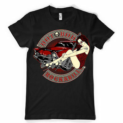 Hot Rod Rockabilly Sexy Pin Up Guitar Vintage  Fathers Day Gift MENS T SHIRT • 6.99£