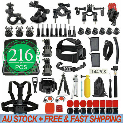 AU32.95 • Buy GoPro 8 7 6 5 4+ 216pcs Accessories Pack Case Monopod Float Mount Chest Head AU