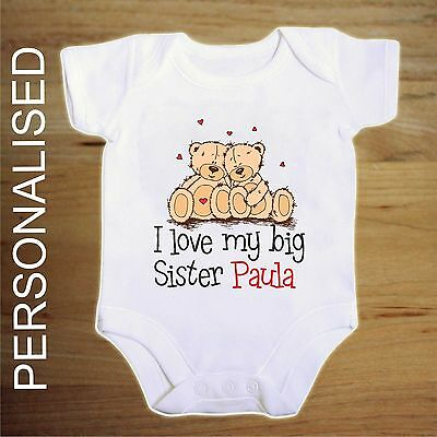 Personalised I Love My Big Sister  Twin Bear   BABY VEST BOY/GIRL BODYSUIT  • 3.99£
