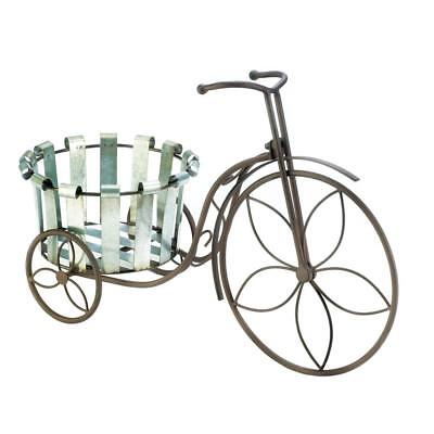 Plant Stand Tricycle 3 Wheel Wrought Iron Metal Wood Planter • 35.05$
