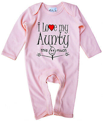 Aunt Baby Clothes  I Love My Aunty This Much  Baby Romper Suit Niece Nephew Gift • 12.99£