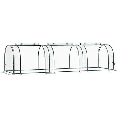 Outsunny Transparent PVC Tunnel Greenhouse Steel Frame 3 Sections 3Lx1Wx 0.8H M • 25.99£