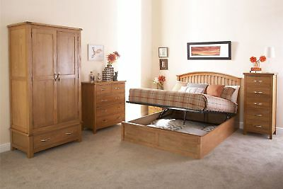 Madrid Wooden Ottoman Storage Bed Gas Lift Up Oak 4ft6 Double 5ft King Size • 293.49£