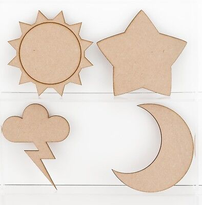 MDF Wooden Craft Weather Shapes Sun Moon Snowflakes Star Lightning Cloud • 1.25£