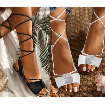 £9.99 • Buy Womens Ladies Tie Up Gladiator Flat Sandals Strappy Summer Metallic Shoes Size