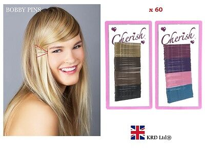 60 COLOURED HAIR GRIPS Bobby Pins Clips Clamps Kirby Salon Waved Clamps Slides • 2.65£