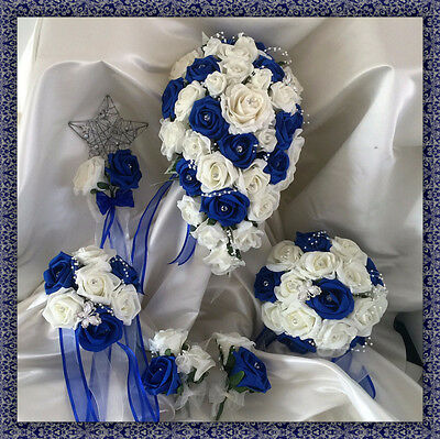 £34.99 • Buy Wedding Flowers Ivory/Royal Roses Crystal Bouquet, Bride/Bridesmaids/Buttonholes