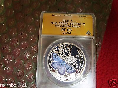 $94 • Buy Niue 2011 $1 Blue Maculinea Arion Butterfly .925 ANACS PCGS NGC Silver Coin