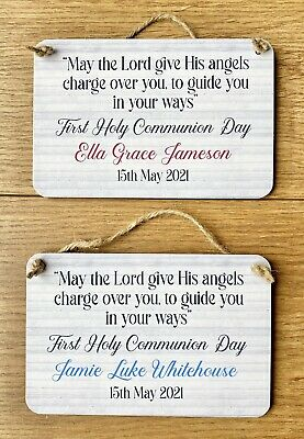 Personalised First Holy Communion Day Gift Wooden Plaque Keepsake • 6.99£