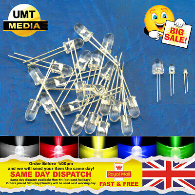 £1.95 • Buy Ultra Bright LEDs 3mm/5mm/10mm Red/Blue/Green/White/Yellow LED Clear Bulb