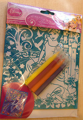 New Disney Princess Glitter Picture With 4 Pens - Colour In The Glittery Picture • 3.49£