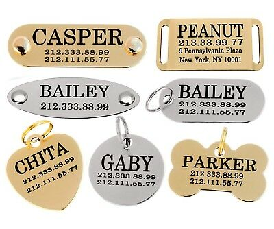 $6.99 • Buy Dog ID Tag Personalized Custom Name Tags Engraving Nameplate Puppy Cat Brass