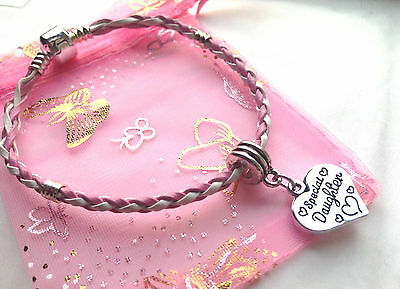 Pink And White Mixed Braid Bracelet With Charm Choose From Many In Gift Bag • 2.99£