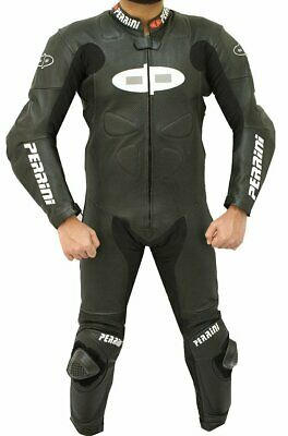 $374.99 • Buy 1pc Perrini Fusion Motorcycle Riding Racing Leather Suit W/ Padding & Hump Black