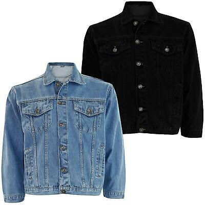 Mens Denim Jeans Jacket Cotton Casual Coat Trucker Button Classic Jacket Western • 16.99£