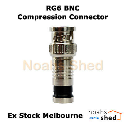 AU3.50 • Buy RG6 Tri Quad Shield Coax Cable Male BNC Compression Connector CCTV Audio Video