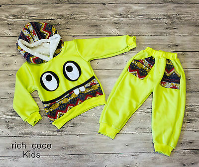 £8.99 • Buy Baby Boy 6-12m Cute Monster Tracksuit Hooded Sports Outfit Everyday Warm Casual