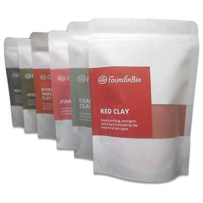 Natural Clay Powder Face Mask Green White Kaolin Red Pink Rhassoul Dead Sea  • 2.75£