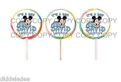 $4.49 • Buy 60 It's Boy Baby Mickey Mouse Baby Shower Lollipop Labels Stickers Personalize
