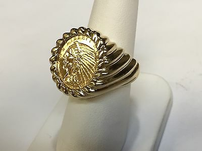 £1111.72 • Buy Genuine Indian Head 2 1/2 Dollar Gold Coin Gents Ring Mounting 14k Gr 14