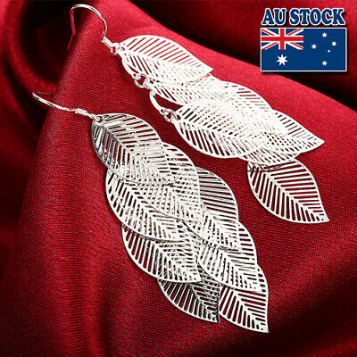 AU6.95 • Buy Classic Stunning 925 Sterling Silver Filled Leafs Dangle Earrings Gift