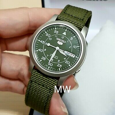 $ CDN138.08 • Buy Seiko 5 Military Automatic Nylon Day Date Army Green Dial SNK805K2 Mens Watch