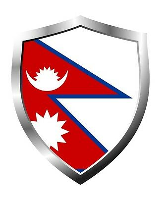 Nepal Country Shield Flag Sticker Vinyl Decal • 2.85£