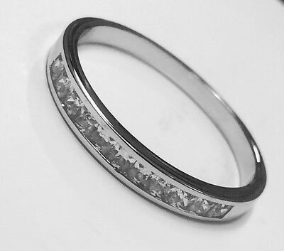 Sterling Silver Princess Cut Cubic Zirconia Channel Set Eternity Ring  R • 7.50£