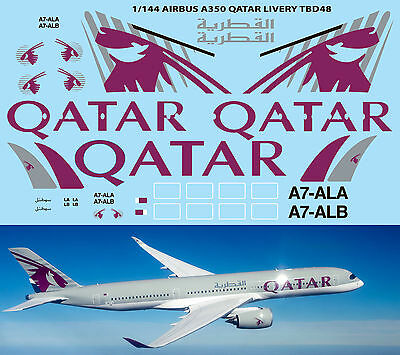 1/144 Airbus A350  Qatar  Livery For Revell Decals TB Decal TBD48 • 11£