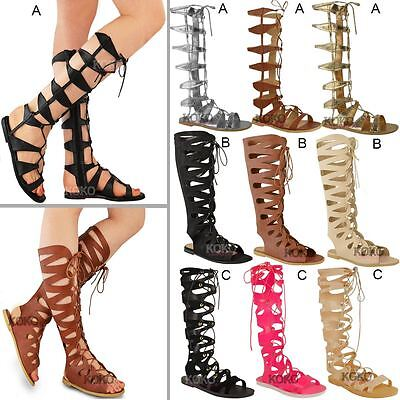 Womens Ladies Flat Knee High Gladiator Sandals Strappy Beach Cut Out Boots Size • 12.99£