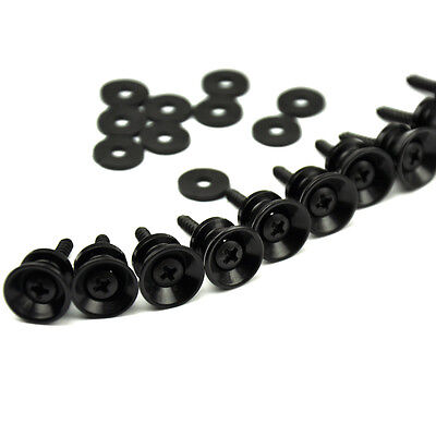 $ CDN7.55 • Buy 10 Sets Of Black Universal Guitar Strap Locks Nails Buttons + Screws + Pad