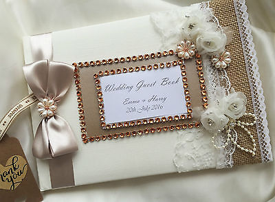 Personalised Wedding Guest Book - Nottingham, Lace, Roses, Satin Ribbon & Jewels • 24.99£