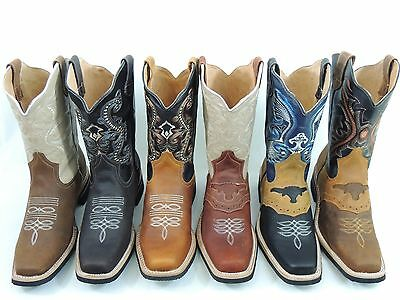 $64.99 • Buy Men's Rodeo Cowboy Boots Genuine Leather Western Square Toe Botas Saddle Work