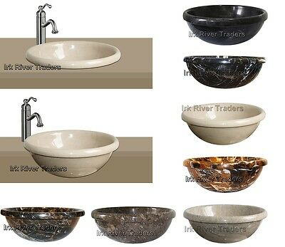 Marble Stone Sink Bathroom Basin Inset Drop-in Self Rimming Wash Bowl Bath Round • 119.99£