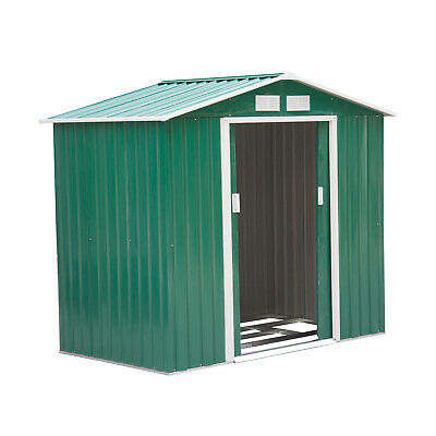 Outsunny 6x4ft Garden Shed Patio Foundation Storage Unit Metal Tool Box Green • 244.99£