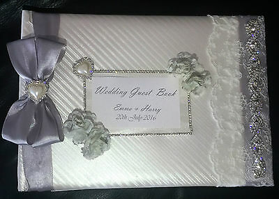 Personalised Wedding Guest Book - Nottingham, Lace, Roses, Satin Ribbon & Bling • 26.99£
