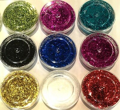 9 Colours Nail Glitter Dust Powder Set - Body Art Crafts Tips Book Decoration   • 2.69£