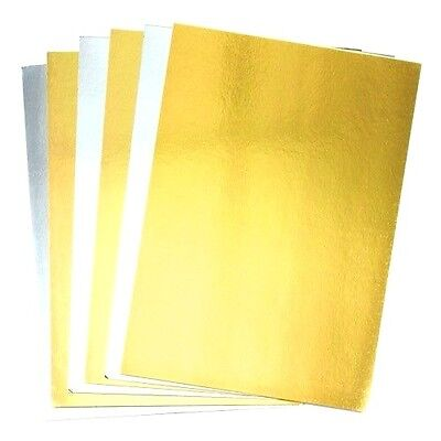 🔥10 X A4 Gold Silver Mirror Craft Card Metallic Creative Wedding Party 300GSM  • 3.95£