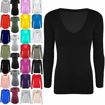 Womens V Neck Plain Casual Jersey Stretchy Ladies Long Sleeves Tunic T Shirt Top • 3.94£