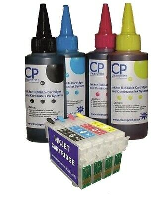 £15.99 • Buy Refillable Cartridges & 400ml  Ink For Printers Using Epson T1285 Cartridges