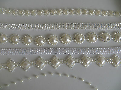 Saree Pearl Look Ribbon Craft Lace Sewing Decoration Wedding Embroidery Trim Diy • 3.50£