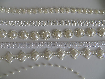 Saree Pearl Look Ribbon Craft Lace Sewing Decoration Wedding Embroidery Trim Diy • 2.99£