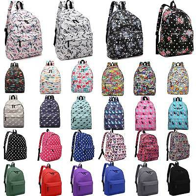 Boys Girls Retro Backpack Rucksack School College Travel Laptop Canvas Bag • 9.99£