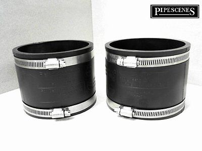 4  Rubber Coupling 110mm PVC Soil Drain Pipe Couplers -Repair Fitting With Clips • 12.39£